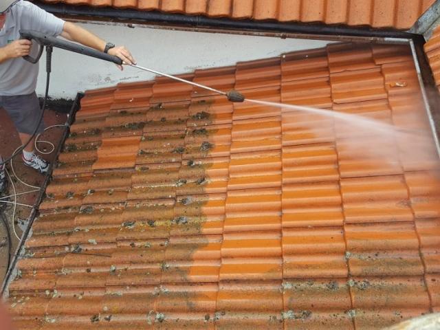 Mycie dachówki cementowej
